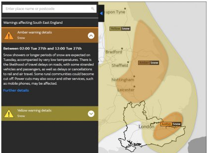 Snow Weather Warning Issued